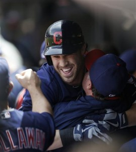 Good vibes all around as the Indians win their 6th straight. (AP Photo/ Credit: Tony Dejak)