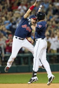 Drew Stubbs (Right) celebrates with Nick Swisher following his walk-off double. (Photo Credit: Jason Miller/Getty Images)