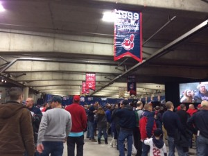 A sizable crowd gathered to listen to Francona and Chernoff.