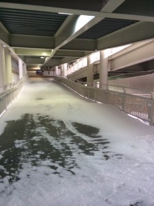There was even a lot of snow once you walked further into Progressive Field.  This is the ramp just inside Gate A (near the home run porch) leading up to the upper levels.