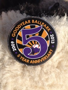 Pin celebrating Goodyear Ballpark's 5 year anniversary.