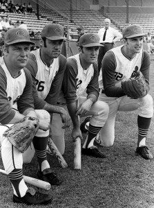 Indians players Bob Miller, Ted Uhlaender Graig Nettles, and Dean Chance, April 1970.