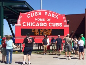 This was a neat feature - a sign reminiscent to the marquee at Wrigley Field that would display your personal greeting.  It was even free to get yours up there, although you did have to wait in a mile long line.