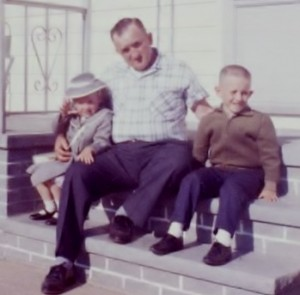 My sister, my father, and me, Easter 1962.