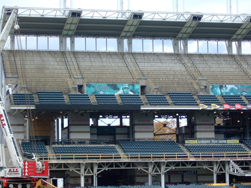 You can see where seats have been removed. They are going to install three levels that will be used for picnics or for Standing Room Only crowds. I've always found portions of the upper deck to be vertigo inducing. I'm curious to see how wide the platforms  will be.