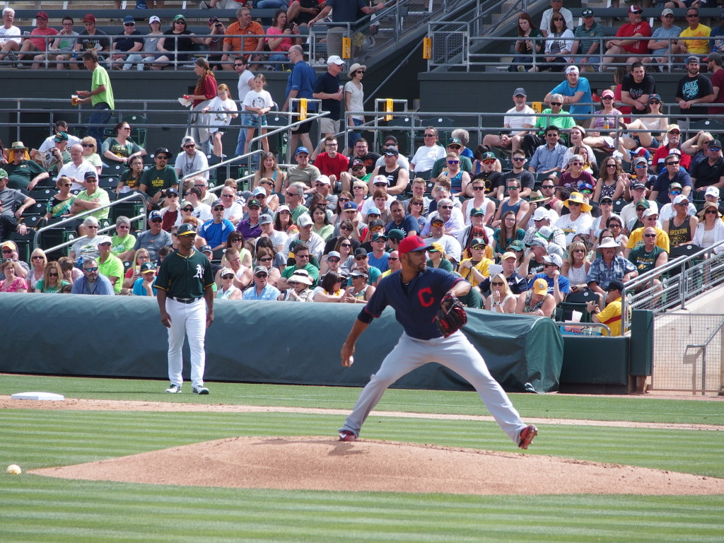 Danny Salazar pitches against Oakland on March 11