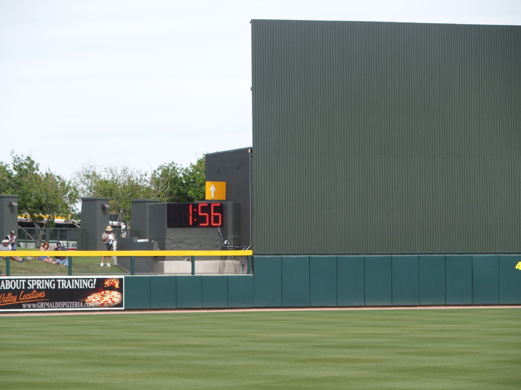 The new clock counts down the time between innings on March 11 in Mesa, AZ