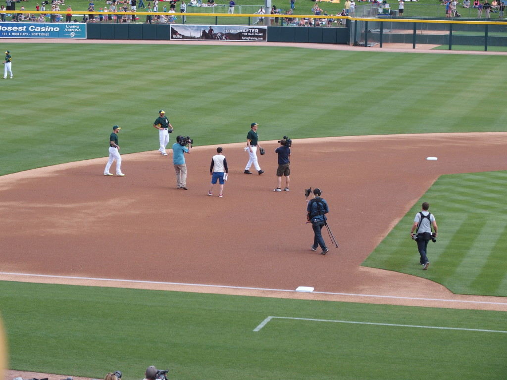 A bunch of cameras chasing Farrell around during the pre-game warm-up on March 12