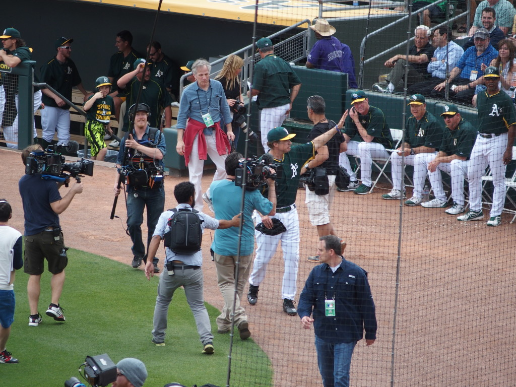 Farrell waves goodbye to fans after his appearance as an Athletic on March 12.