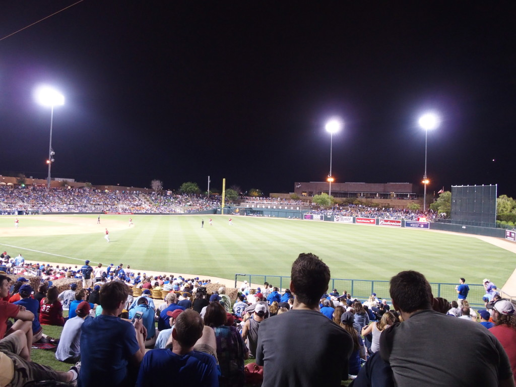 A rare night Cactus League game - the Cincinnati Reds vs. the Los Angeles Dodgers. The game ended in a 3-3 tie