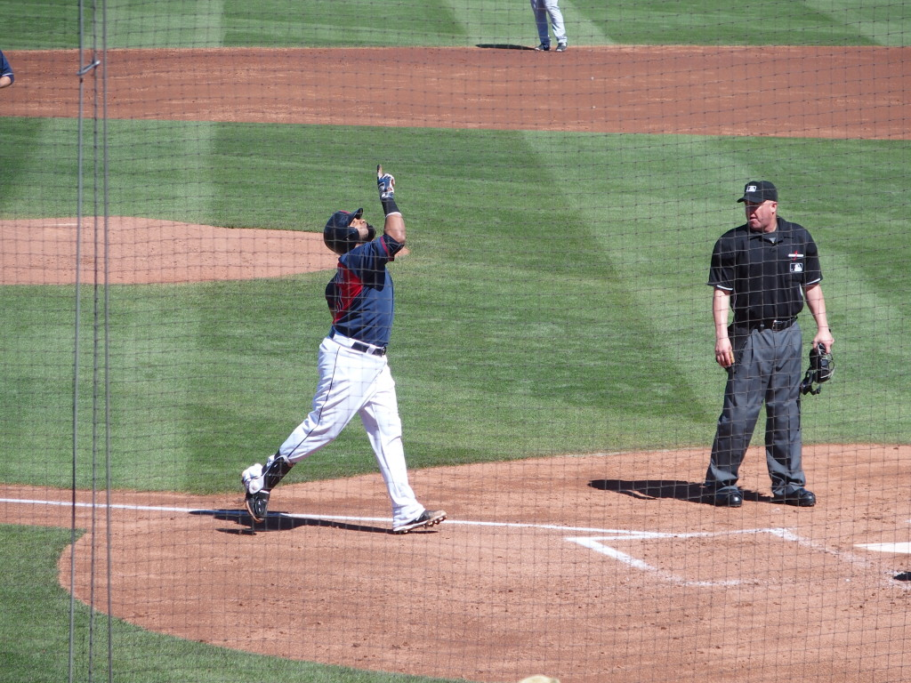 Carlos Santana approaches home after hitting a home run on March 15 against the Padres