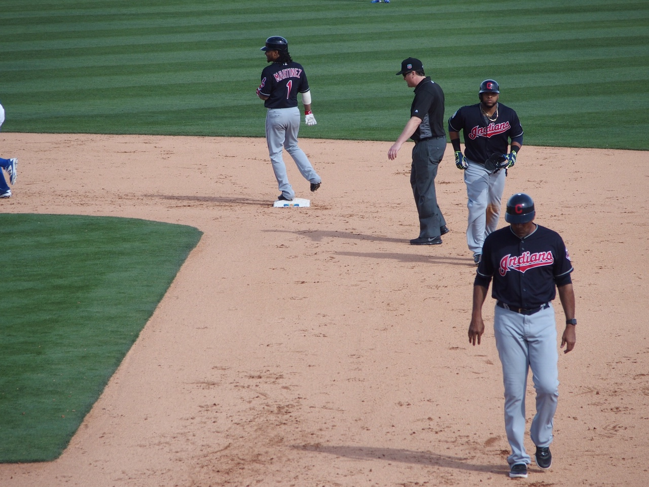 Michael Martinez enters the game as a pinch runner after Carlos Santana doubled in Tuesday's game against the Dodgers.