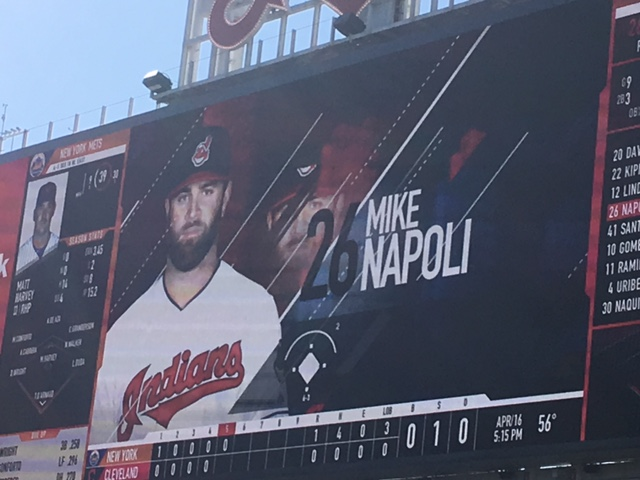 You can even see the scorecard graphic with the super tiny font next to his picture.