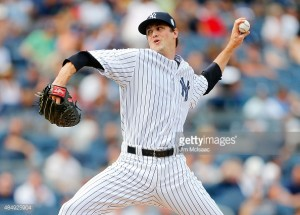 in action against the at Yankee Stadium on August 22, 2015 in the Bronx borough of New York City. The Yankees defeated the Indians 6-2.