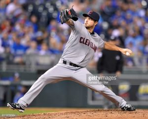 Cleveland Indians pitcher Ryan Merritt throws in the first inning against the Kansas City Royals on Friday, Sept. 30, 2016, at Kauffman Stadium in Kansas City, Mo. (John Sleezer/Kansas City Star/TNS)