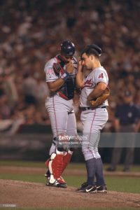 Cleveland Indians Sandy Alomar and Chad Ogea in Game 1 of the American League Championship Series, Oct. 8, 1997, at Camden Yards in Baltimore. Mandatory Credit: Albert Dickson/Sporting News/Icon SMI